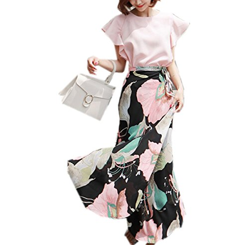 Weing New Summer Fashion 2 Piece Set Pink Crop And Flower Print Long Skirt Set Picture Color XL by Weing