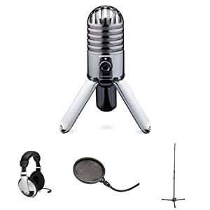 samson meteor mic with headphones stand and pop filter musical instruments. Black Bedroom Furniture Sets. Home Design Ideas