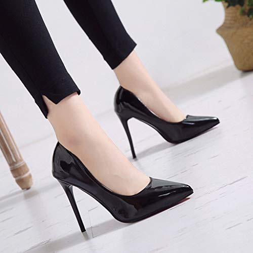 (Nadition Ladies Elegant Pump Shoes ❤️️ Women's Fashion Pointed Toe Candy Color High Heels Single Shoes Office Business Shoes Black)