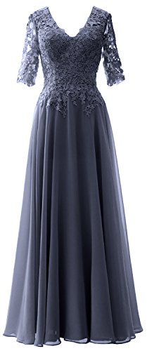 Bride Sleeves Women Evening Steel Half Formal Blue Mother Neck V Of Gown Macloth Dress TxFnWS1S