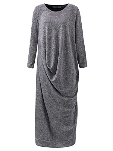 Celmia Fashion Women's Long Knitted Plus Size Maxi Dress Kaftan Caftan Batwing Sleeve Grey L by Celmia