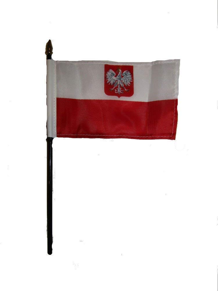 Poland Polish Polska Eagle Flag 4x6 Desk Set Table Stick Gold Base BEST Garden Outdor Decor polyester material FLAG PREMIUM Vivid Color and UV Fade Resistant