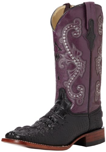 Ferrini Women's Print Hornback Caiman, Black/Purple, 9 B US