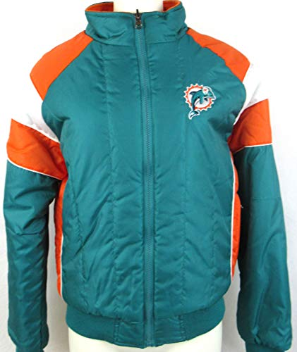 G-III Sports Womens Miami Dolphins Reversible Quilted Puffer Fleece Jacket with Embroidery, Size Large A1 1125 - Miami Dolphins Reversible Jacket