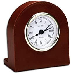 Dacasso Mocha Leather Desk Clock with Gold Trim
