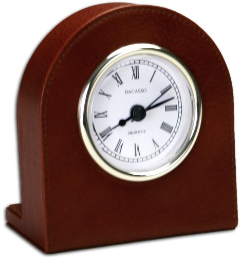 (Dacasso Mocha Leather Desk Clock with Gold Trim)