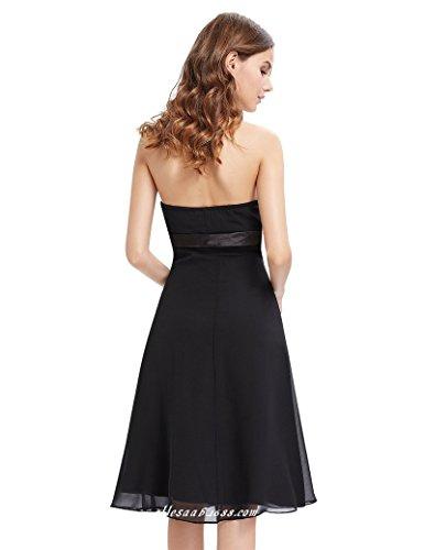 Festliche Kleid CoCogirls Kurzer Kleider Brautjungfer Abendkleid Chiffon Trägerlos für Ballkleid Black Damen Yxf4O6