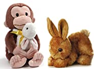 """GUND 10"""" Curious George with Bunny and 8"""" Aurora Bitty Bunny Easter Bundle"""