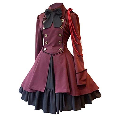 VEKDONE Halloween Costume Women's Gothic Princess Cosplay Sweet Lolita Dress Plus Size(Wine,Medium)