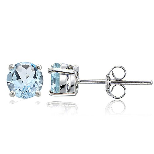 Sterling-Silver-6mm-Round-Solitaire-Stud-Earrings-Choice-of-12-Colors