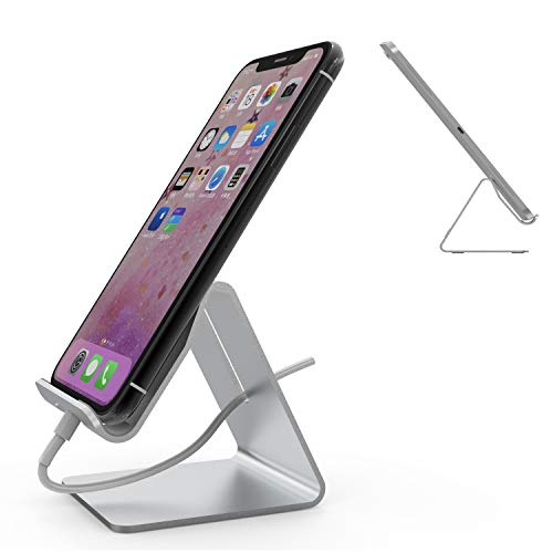 Mr. Spades Universal Aluminum Desktop Cell Phone Stand Tablet Stand for iPhone 7 6 6s 8 X Plus/Amazon Kindle Fire 7 HD 8/Samsung Galaxy Tab/Apple iPad Air/Google Nexus/Motorola/HTC - Silver