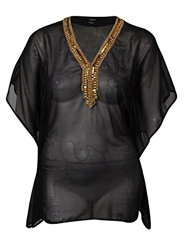 Raviya Sheer Beaded-Neck Tunic Bathing Suit Cover Up (Large, Black)
