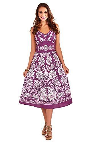 Vestido Veraniego para Dama Pistachio Plisado a la Rodilla Púrpura
