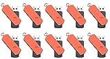 FEBNISCTE 10pcs Red Euro Style Swivel 16GB USB3.0 Flash Drive Memory Stick