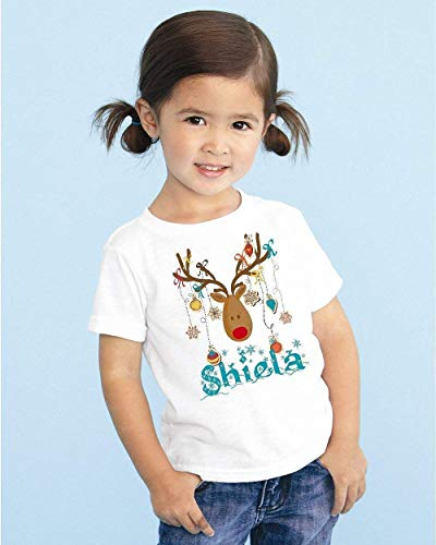 (Youth Christmas Deer Antlers Girls Personalized T Shirt Tee Custom Name)