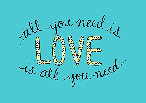 Blues Music Lyrics (All You Need is Love 8x10 Print Song Lyric Wall Art Teal and Yellow Decor)