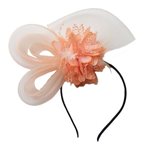 Women's Fascinators Hat Small Hairpin Feather Mesh Flower Hairclip (Peach)