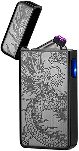 Electric Lighter Plasma Flameless Lighter Windproof Arc Lighter USB Rechargeable Electronic Lighters Cigarette, Candle Lighter (Black Dragon)