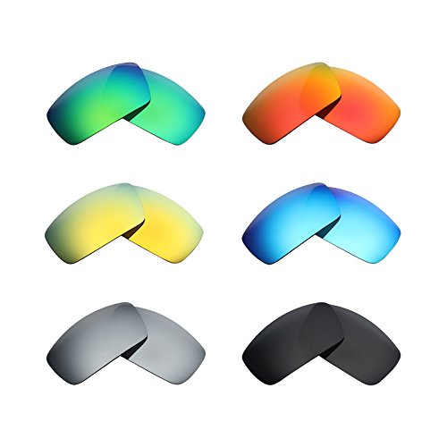 Mryok 6 Pair Polarized Replacement Lenses for Oakley Canteen 2006 Sunglass - Stealth Black/Fire Red/Ice Blue/Silver Titanium/Emerald Green/24K Gold by Mryok