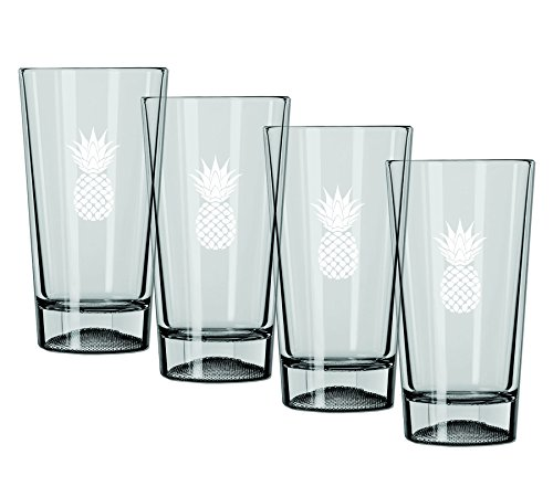 Kraftware Kasualware Designs Pint Glass Pineapple, Set of 4, 16 oz, Clear