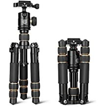 QZSD Q166A Aluminum Alloy Tripod 21.6 Inch Desktop Light Weight Monopod with Ball Head 1/4 Quick Release Plate for DSLR Camera