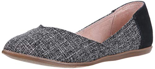 TOMS Women's Jutti Ballet Flat, Black Two-Tone Woven, 6 Medium US