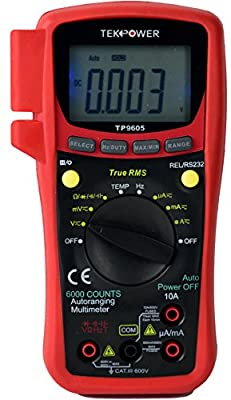 TekPower TP9605BT Auto Ranging Digital True RMS Smart Multimeter with Bluetooth & USB Connection, Free App Available for iOS and Android from Tekpower