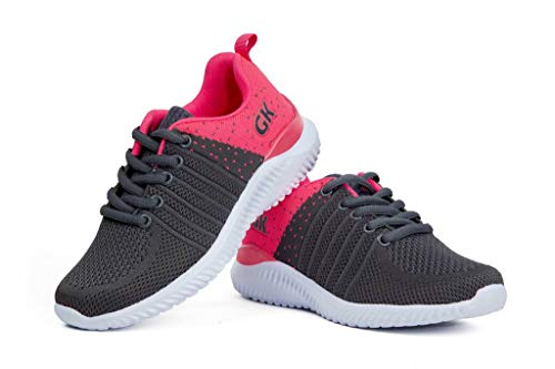 (Kids Athletic Tennis Shoes - Little Kid Sneakers with Girl and Boy Sizes Grey/Fuchsia Size 13 Little Kid (Gris/Fucsia - 31) 13 M US)