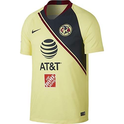 NIKE 2018-2019 Club America Stadium Home Jersey (Lemon Chiffon) (XL)