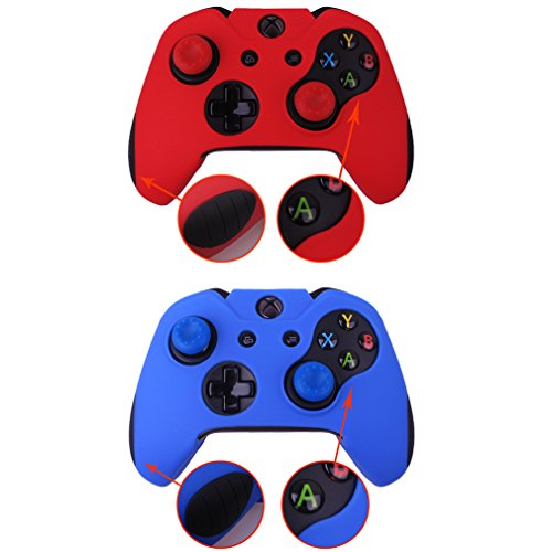 Pandaren Soft Silicone Thicker Skin Cover for Xbox One Controller Set (skin X 2 + Thumb Grip X 4)(Red,Blue) For Sale
