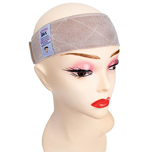 GEX Beauty Flexible Velvet Wig Grip Scarf Head Hair Band Wig Band Adjustable Fastern (Beige)