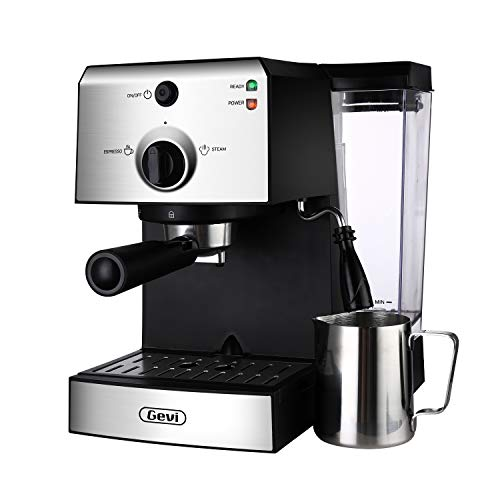 Espresso Machines 15 Bar Coffee Machine with Milk Frother Wand for Espresso, Cappuccino, Latte and Mocha, 1.5L large Removable Water Tank and Double Temperature Control System, Stainless Steel, 1100W