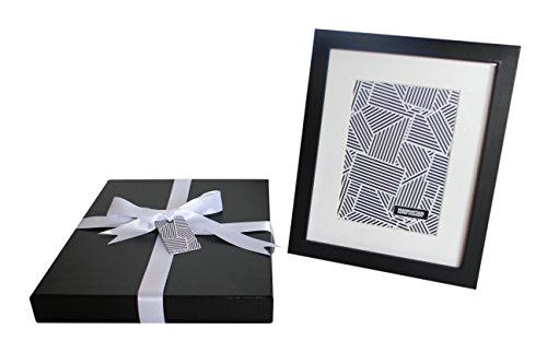 8x10 Black Wood Photo Frame w Luxury Gift Box | Display pictures 5x7 inch with Mat or 8x10 without Mat | No Wrapping Necessary | Manhattan Paper Co. | Gift Box Size - 10x 12x1.5 in (Black Crocodile) (Manhattan Scarf Company compare prices)