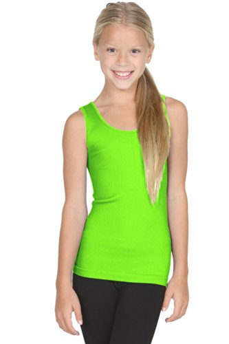Sugarlips Kid's Ribbed Seamless Tank Top (Neon Green, One size fits - Lips Ribbed Tank Sugar