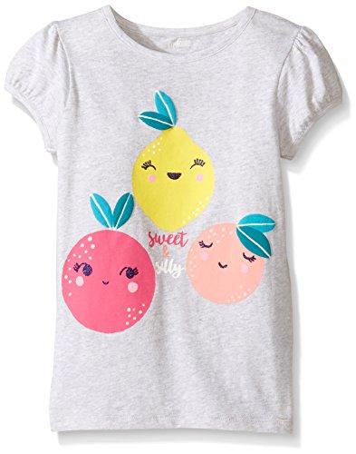 Gymboree Baby Toddler Girls' Fruit Friends Graphic Tee, Light Heather Grey, 4T