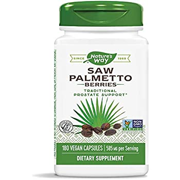 Nature's Way Saw Palmetto Berries, 585 mg, Non-GMO & Gluten Free, Prostate Supplement, 180 Capsules
