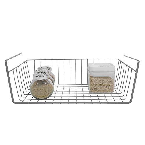 - Smart Design Undershelf Storage Basket w/Snug Fit Arms - Medium - Steel Metal Frame - Rust Resistant Finish - Cabinet, Pantry, Shelf Organization - Kitchen (16 x 5.5 Inch) [Charcoal Gray]