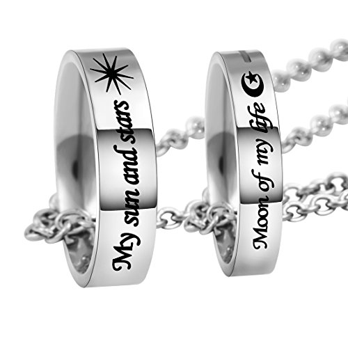 """MJARTORIA """"Moon of my life My sun and stars"""" Engraved Ring Pendant Couple Necklace Set"""