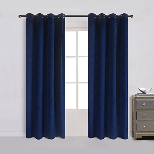 Cherry Home Luxury Velvet Blackout Curtains Panels With Grommet Draperies Eyelet 52Wx72L Inch Navy Royal Blue, 2 Panels for Theater ,Bedroom, Living Room and Hotel