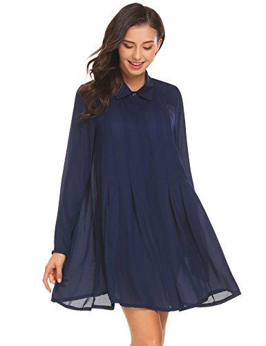 blue a line shirt dress - 3