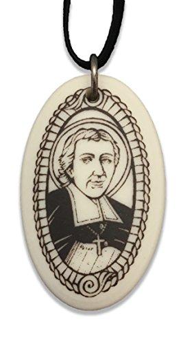Patron Saints St John de Lasalle Porcelain Oval Medal on Braided Cord of Teachers and Principals ()