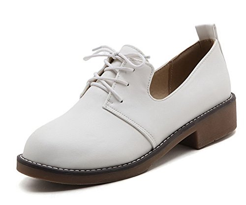 AmoonyFashion Womens Round-Toe Low-Heels PU Solid Lace-Up Pumps-Shoes White LfIzC7PrVz