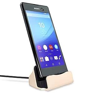 MyGadget Micro USB Docking Station - Soporte Estación Base de Carga para Movil cómo Galaxy S7 S6 (Edge), Huawei Honor 20 Lite/P Smart 2019 - Dorado