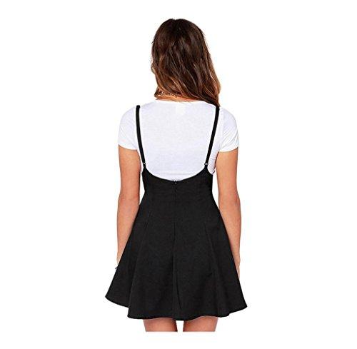 Tongshi Las mujeres de moda falda negra con correas de hombro vestido plisado Negro