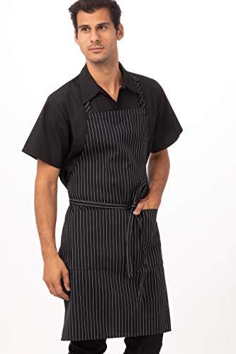 Chef Works Unisex Bib Apron, Black W/ White Pinstripe, One Size (White And Black Apron)