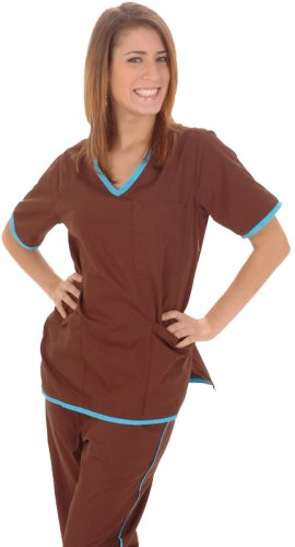 Women's Designer Contrast Trim Scrub Set (12 colors, XS-3X)