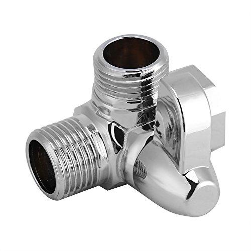 "Yosoo G1/2"" Brass 3-Way Shower Head Diverter Valve Tap T-Adapter Splitter Brass Shower Arm Diverter Valve Bathroom Angle Valve for Hand Held Showerhead and Fixed Spray Head Polished Chrome"