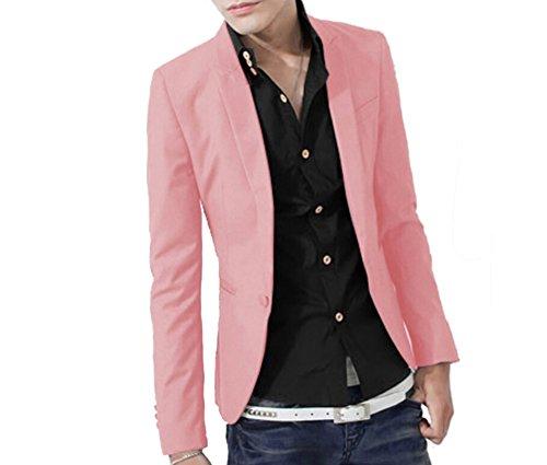 [해외]원홍 남성 슬림 핏 라펠 코트 캐주얼 원 버튼 블레이저 슈트 코트 탑 / WenHong Men`s Slim Fit Lapel Coat Casual One Button Blazer Suit Coat Tops