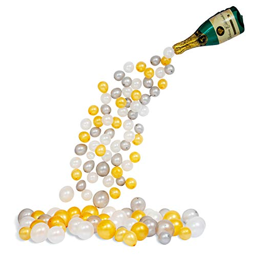 Giant Champagne Bottle Balloon Arch Kit - 94 Gold White Silver Inflatable Garland Party Supplies Decorations, Bridal Shower Wedding Birthday Bachelorette Graduation Anniversary Backdrop, Centerpiece