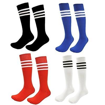 Kids Soccer Socks 4 Pack Boys Girls Cotton Team Socks Teens Children Soccer Socks (Shoe size 8-13 and Ages 4-7, Rainbow1)